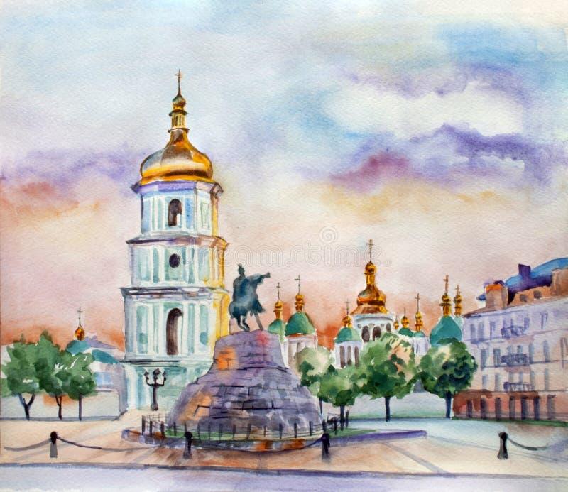 Illustration för vattenfärggatasikt Kiev stad ukraine stock illustrationer