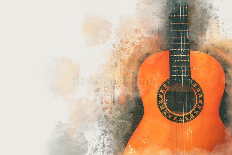Illustration för vattenfärgstilabstrakt begrepp av den akustiska gitarren stock illustrationer
