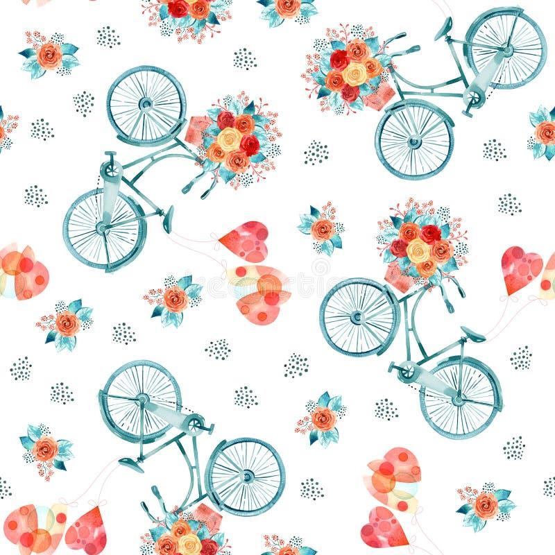 Illustration för vattenfärgvalentindag med hjärtor och cykeln royaltyfri illustrationer
