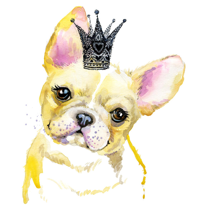 Illustration för vattenfärgvalphund Avel för fransk bulldogg stock illustrationer