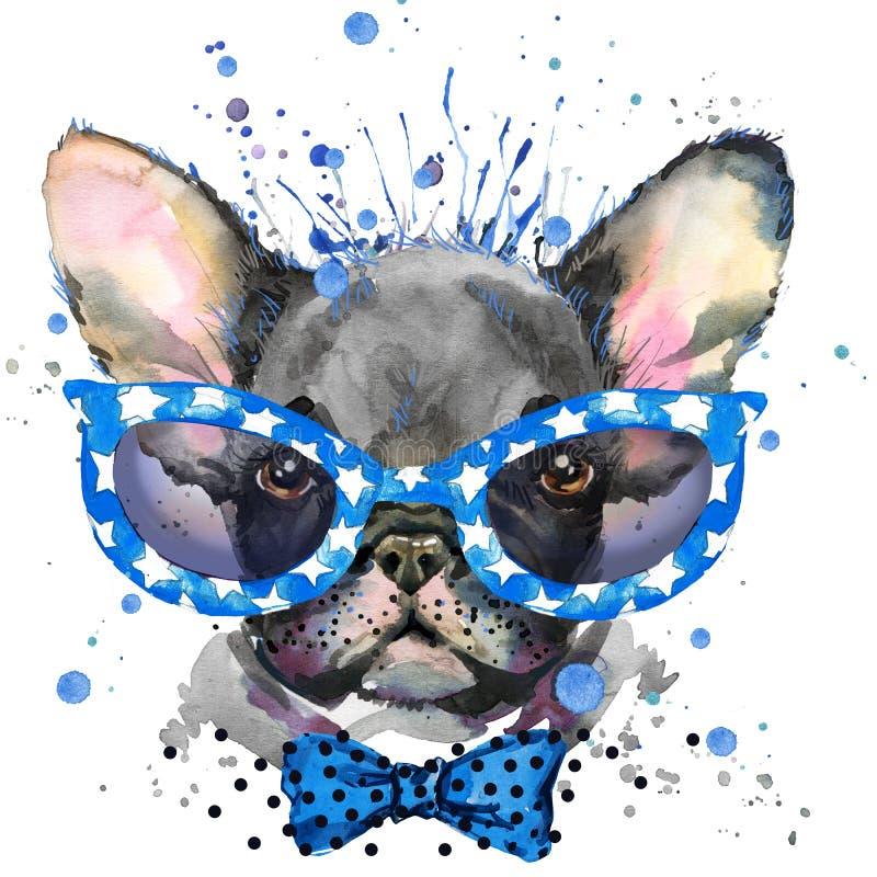 Illustration för vattenfärgvalphund Avel för fransk bulldogg