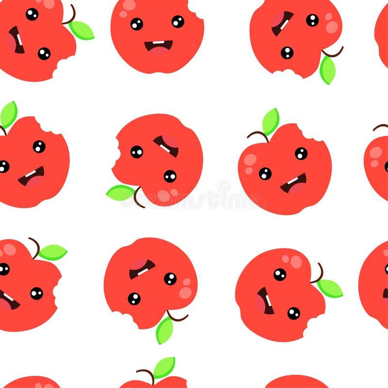 Illustration för vektor för äpple för sömlös modellbakgrund gullig röd royaltyfri illustrationer
