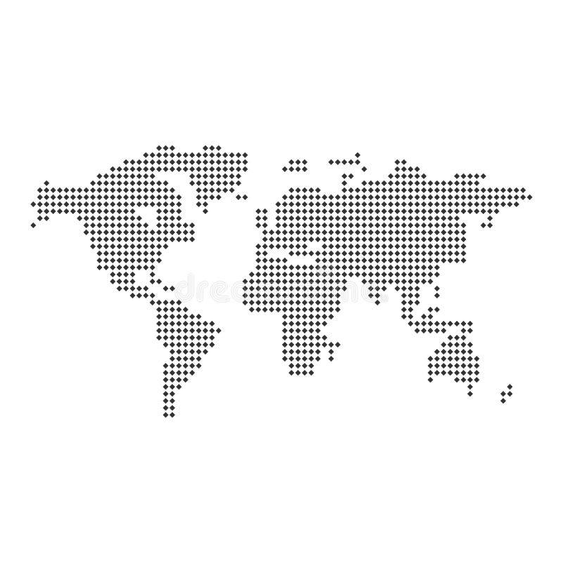 Illustration för vektor för översiktsvärld prickig stock illustrationer