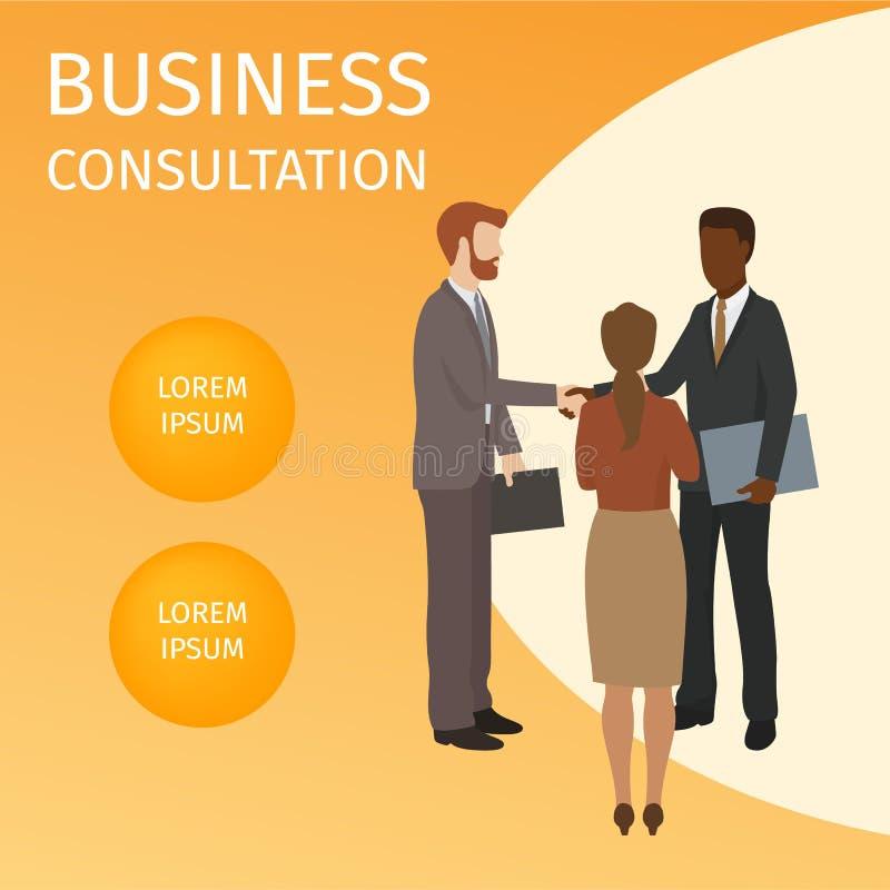 Illustration för vektor för affärskonsultationbaner Finans strategisk ledning, investering, naturresurser, teamwork stock illustrationer