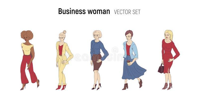 Illustration för vektor för affärskvinna Tecknad filmstiluppsättning stock illustrationer
