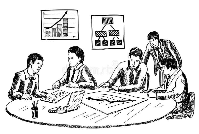 Illustration för vektor för affärsplanläggning eller seminariumbegreppsdragen hand vektor illustrationer