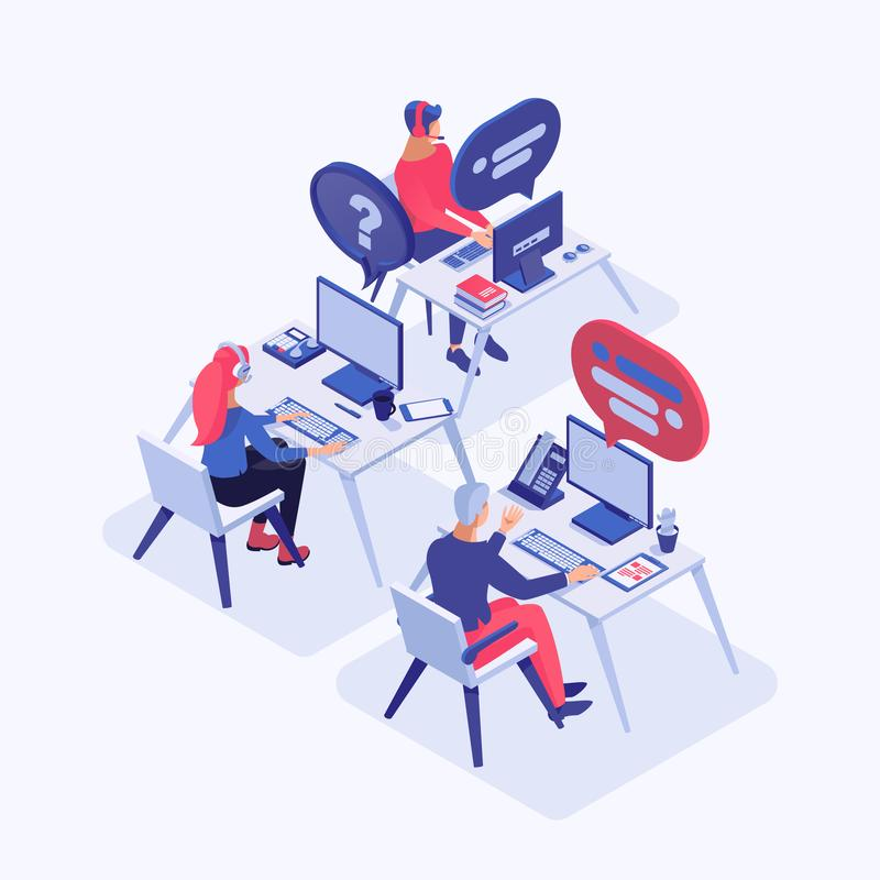 Illustration för vektor för appellmitt isometrisk Kundtjänstoperatörer med konsulterande klienter för hörlurar med mikrofon, chef stock illustrationer