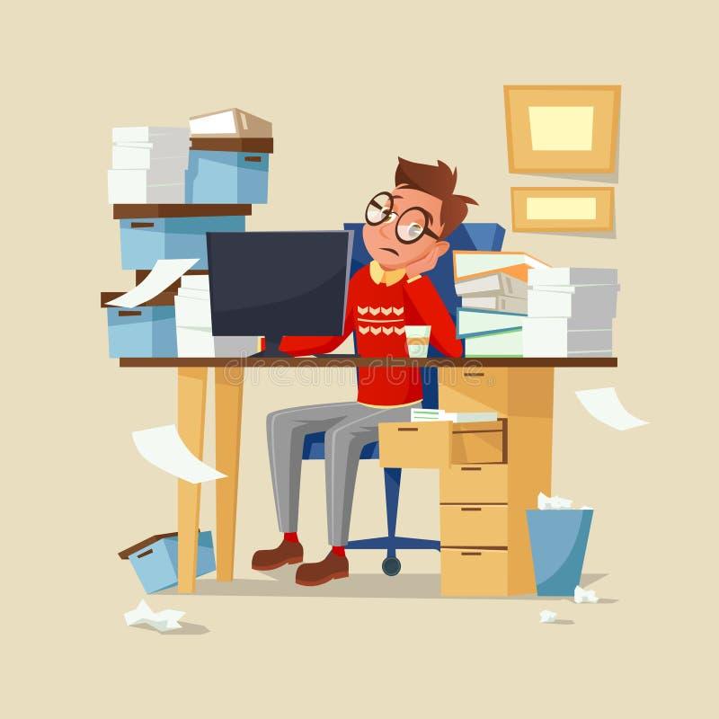 Illustration för vektor för arbete för kontorschef rutinmässig av den trötta frustrerade mannen med dokument, datoren och kaffe royaltyfri illustrationer