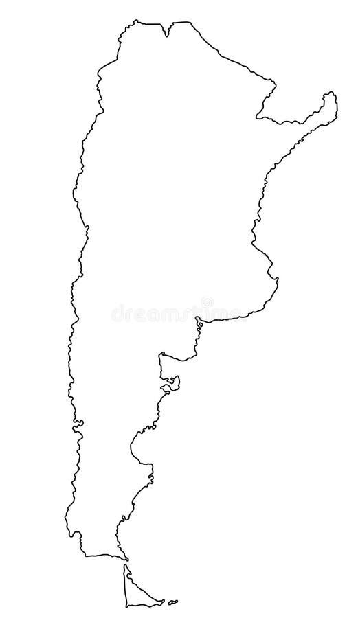Illustration för vektor för Argentina översiktsöversikt stock illustrationer