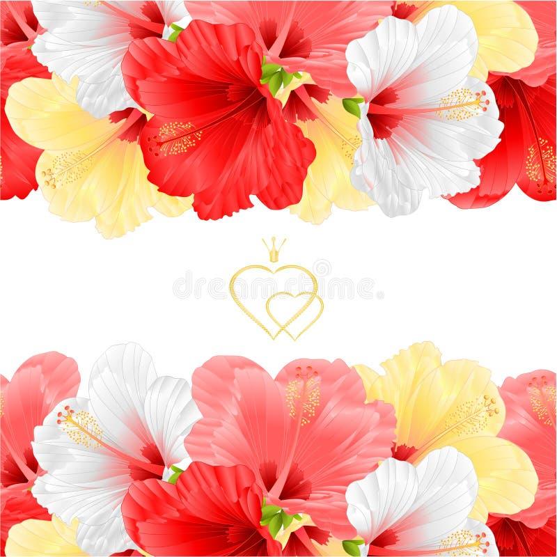 Illustration för vektor för attraktion för hand för tappning för hibiskus för blom- sömlösa horisontalbakgrundsblommor för gräns  royaltyfri illustrationer