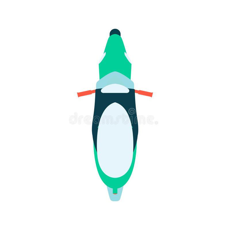 Illustration för vektor för bästa sikt för motorcykel som eller för cykel plan isoleras på vit bakgrund royaltyfri illustrationer