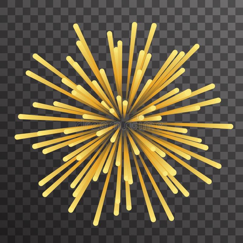 Illustration för vektor för bakgrund för geometrisk guld- för explosionpartikelutsläpp mall för design abstrakt genomskinli stock illustrationer