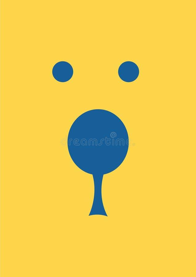 Illustration för vektor för bakgrund för guling för framsidabjörndesign vektor illustrationer