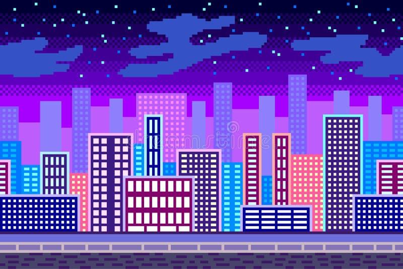 Illustration för vektor för bakgrund för stad för PIXELkonstnatt detaljerad royaltyfri illustrationer