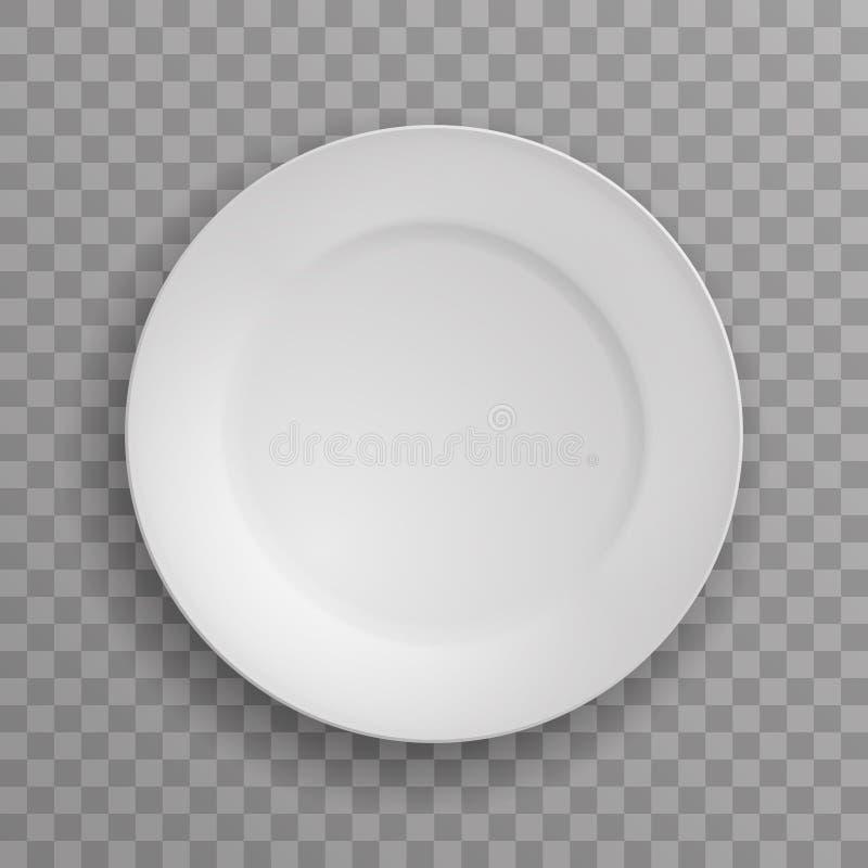 Illustration för vektor för bakgrund för vit dishware för porslin för kök för mat för maträttplattakök genomskinlig royaltyfri illustrationer