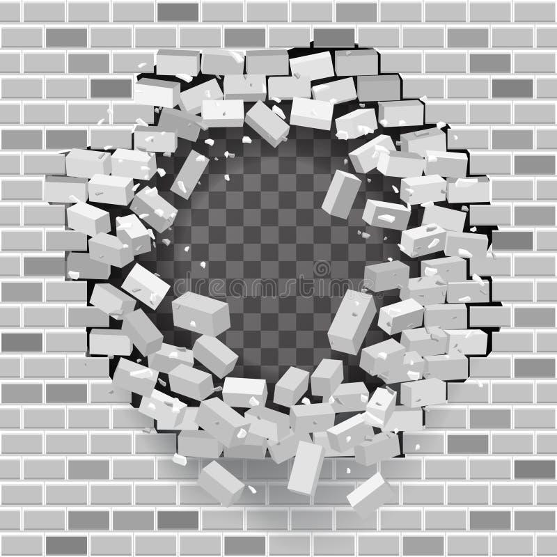 Illustration för vektor för bakgrund för vit grå för tegelstenavbrottsvägg för hål mall för förstörelse genomskinlig royaltyfri illustrationer