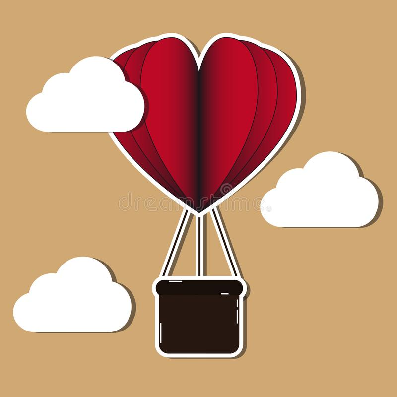 Illustration för vektor för ballong för varm luft hjärta formad med moln vektor illustrationer