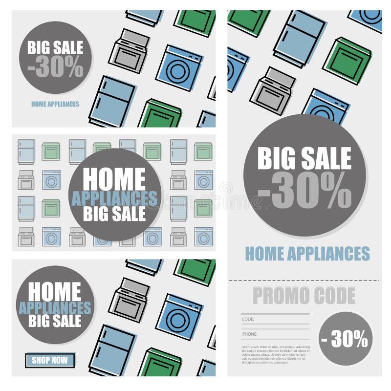 Illustration för vektor för baner för försäljning för säsong för rabatt för hushållanordningar för bandförsäljning för klar illus royaltyfri illustrationer