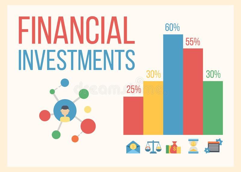 Illustration för vektor för baner för tillväxt för finansiell och pengaraffär Investering och faktisk finans Kommunikation och royaltyfri illustrationer