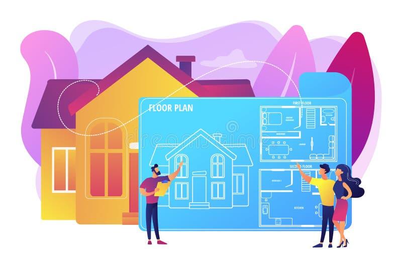 Illustration för vektor för begrepp för fastighetgolvplan stock illustrationer