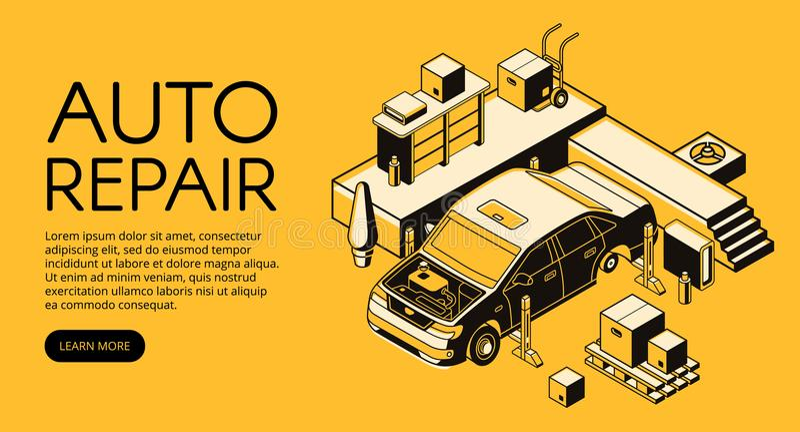 Illustration för vektor för bilreparationsservice isometrisk royaltyfri illustrationer