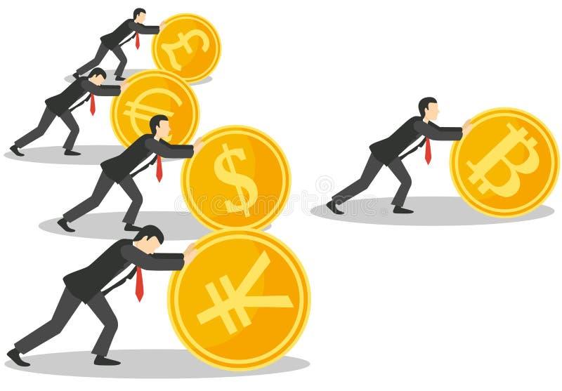 Illustration för vektor för Bitcoin tillväxtbegrepp royaltyfri illustrationer