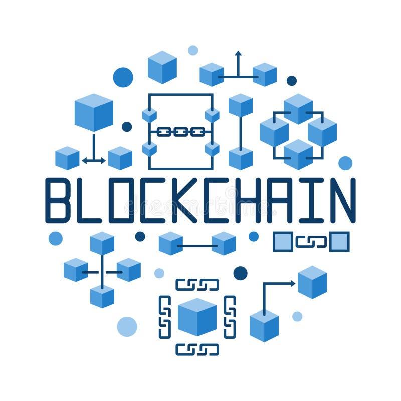 Illustration för vektor för blått för Blockchain rundabegrepp stock illustrationer