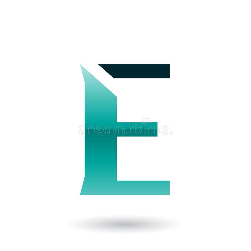 Illustration för vektor för bokstav E för perser gräsplan skivad vektor illustrationer