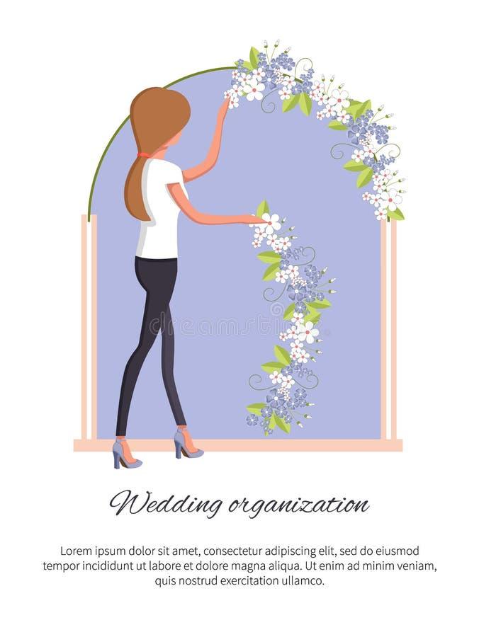 Illustration för vektor för brölloporganisationsaffisch stock illustrationer