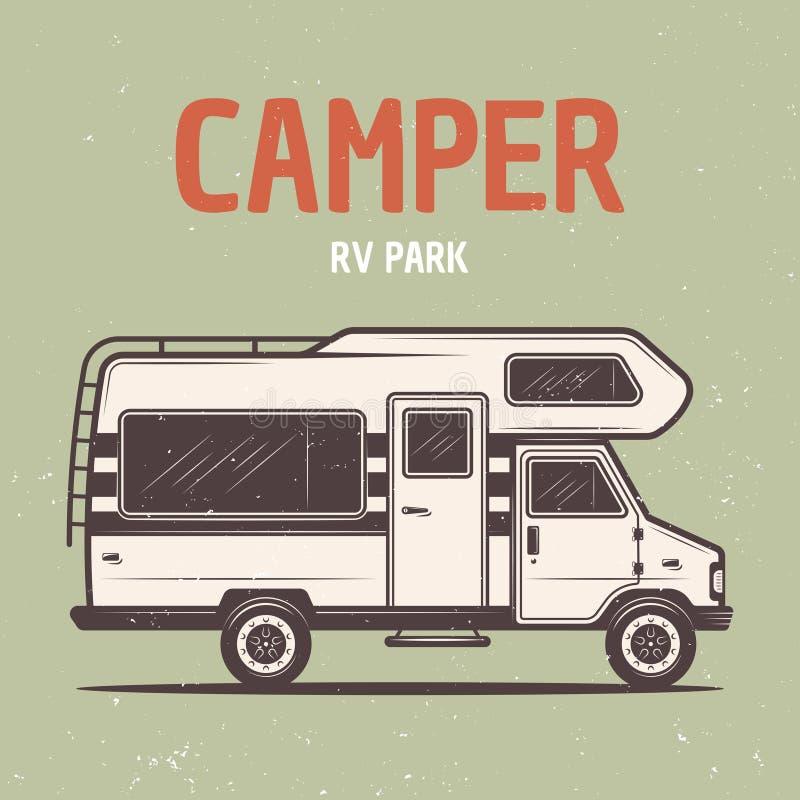 Illustration för vektor för buss för för RV-campareskåpbil eller husvagn stock illustrationer