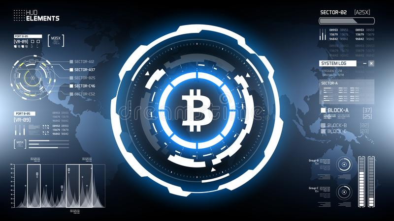 Illustration för vektor för cirkel för Bitcoin cryptocurrency futuristisk vektor illustrationer