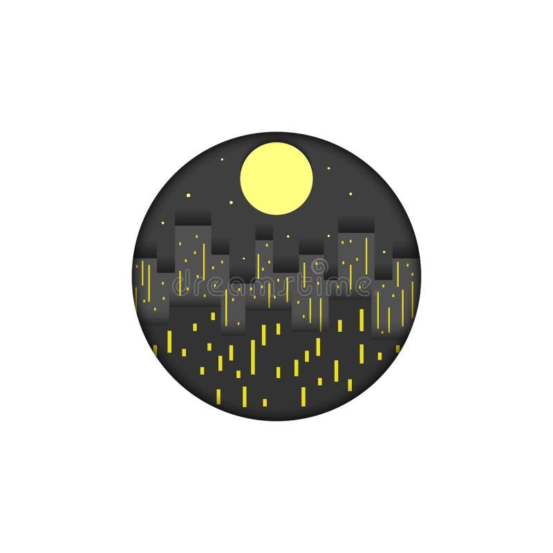 Illustration för vektor för cityscape för natt för lager för snitt för papper för modell för rund form för stadslogo idérik Skysk vektor illustrationer