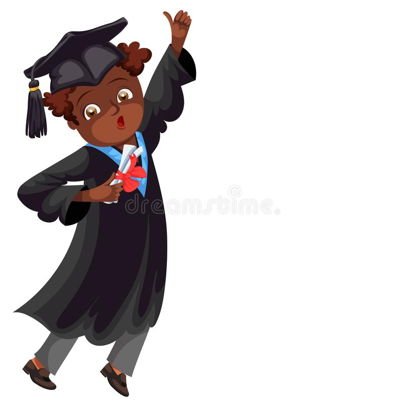 Illustration för vektor för congrats för affisch för högskolaavläggande av examenlägenhet färgrik stock illustrationer