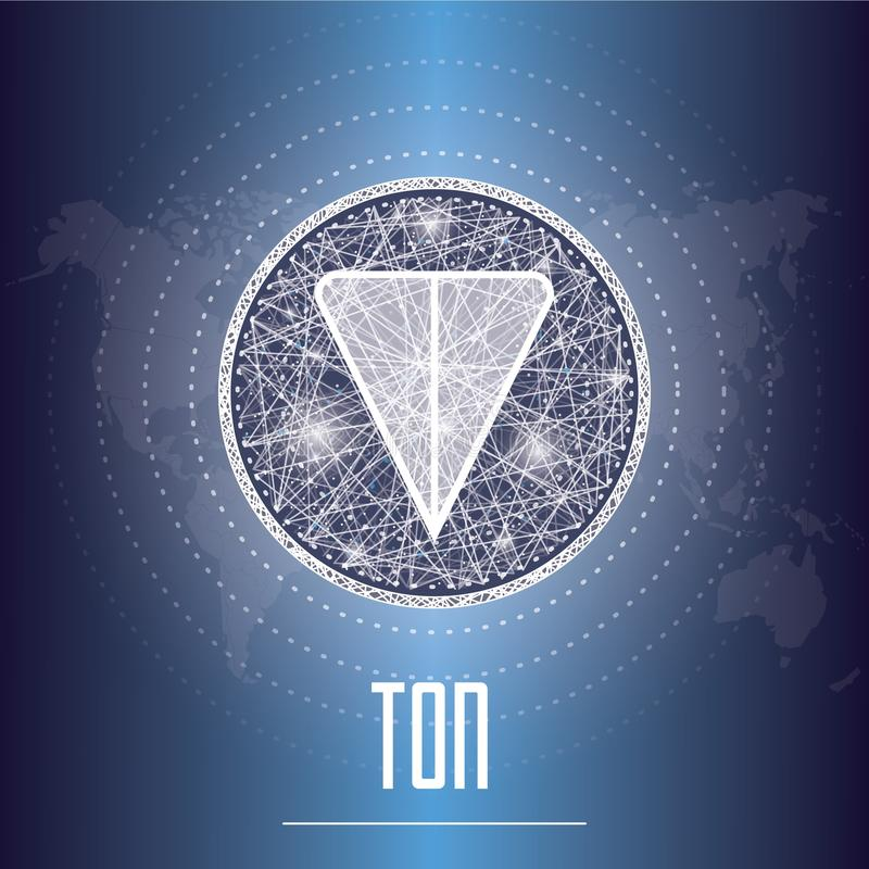Illustration för vektor för cryptocurrency för TON för öppet nätverk för telegram vektor illustrationer