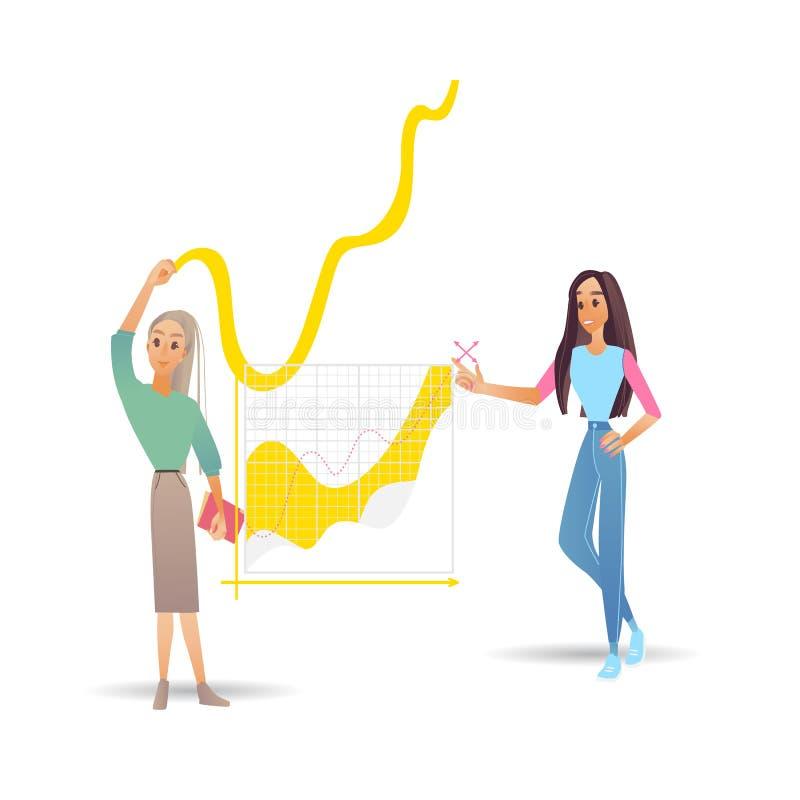 Illustration för vektor för dataanalys med två flickor nära stora digitala diagram med växande framsteg stock illustrationer