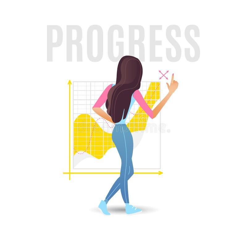 Illustration för vektor för dataanalys med unga flickan som står med hennes baksida nära stort diagram med växande framsteg vektor illustrationer