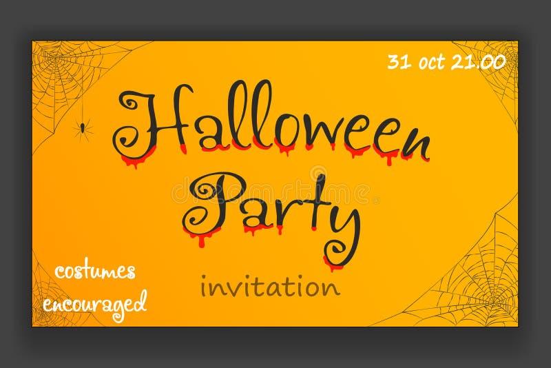 Illustration för vektor för design för inbjudan för rengöringsduk för spindel för hörn för lycklig halloween partigarnering hänga royaltyfri illustrationer