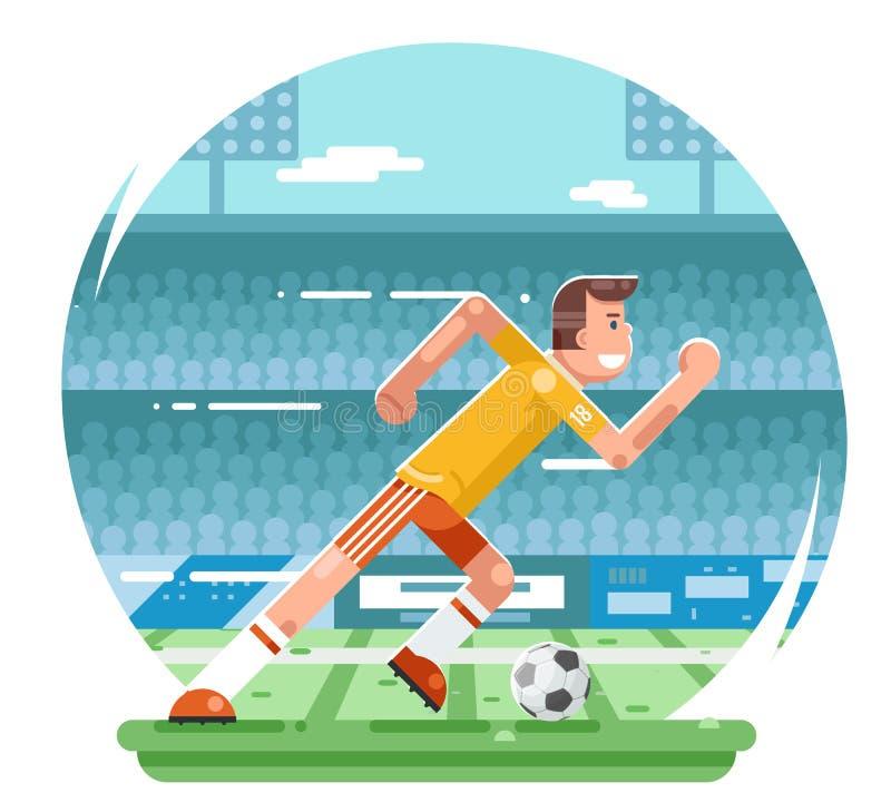 Illustration för vektor för design för lägenhet för bakgrund för stadion för tecken för fotbollfotbollsspelare rinnande vektor illustrationer