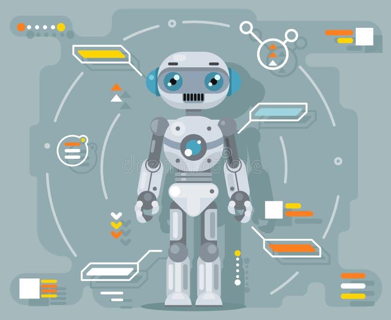 Illustration för vektor för design för lägenhet för manöverenhet för information om konstgjord intelligens för robotandroid futur stock illustrationer