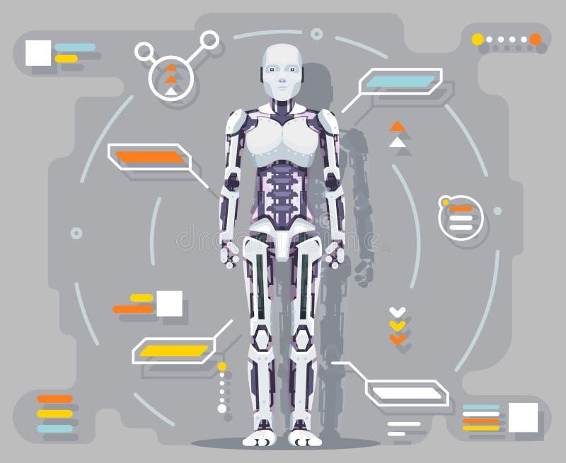 Illustration för vektor för design för lägenhet för manöverenhet för information om robot Android för konstgjord intelligens futu royaltyfri illustrationer