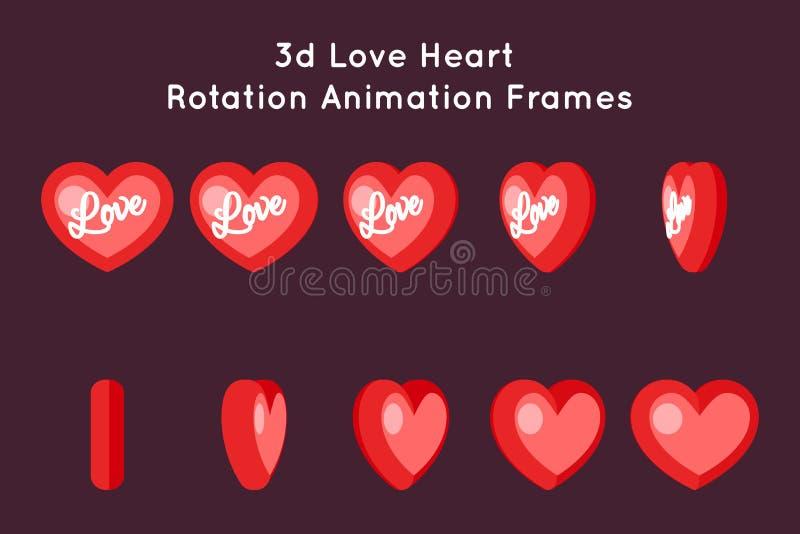 Illustration för vektor för design för lägenhet för uppsättning för ramar för animering för rotation för förälskelseValentine Day royaltyfri illustrationer
