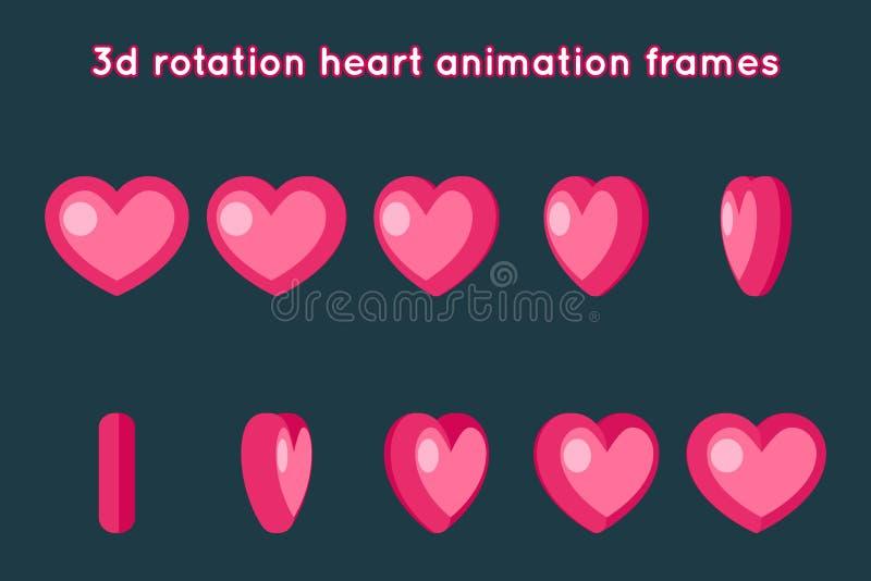 Illustration för vektor för design för lägenhet för uppsättning för ramar för animering för Valentine Day 3d hjärtarotation royaltyfri illustrationer