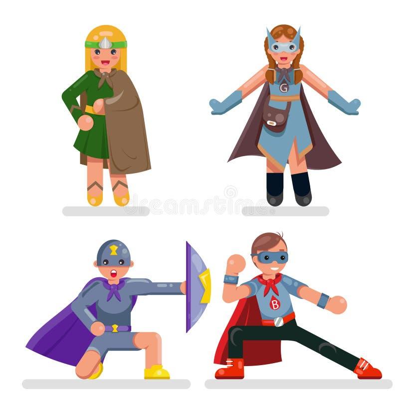 Illustration för vektor för design för lägenhet för uppsättning för tecken för toppen hjälte för ungetonår royaltyfri illustrationer