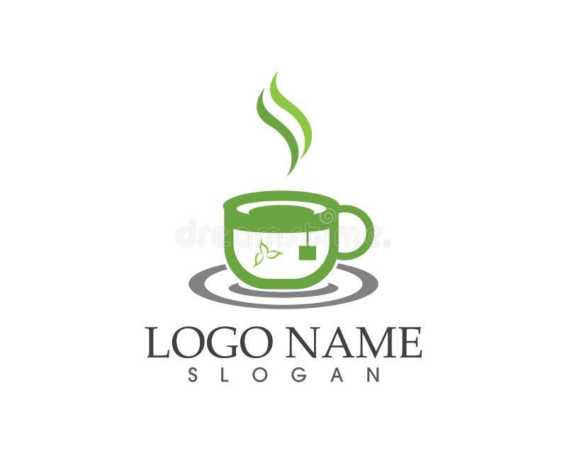 Illustration för vektor för design för logo för symbol för kopp för grönt te royaltyfri illustrationer