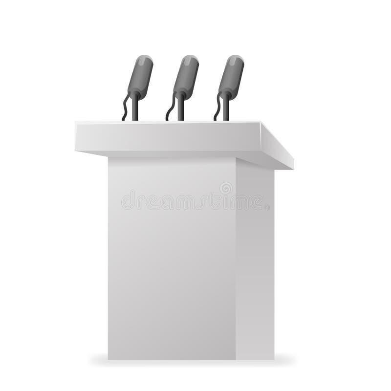Illustration för vektor för design för mikrofon för kapacitet för politiker för valkampanjtribuntalarstol vektor illustrationer