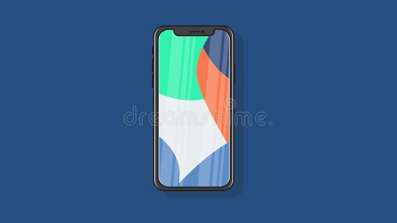 Illustration för vektor för design för smart för telefon tunn för skyddsram bakgrund för full färg plan stock illustrationer