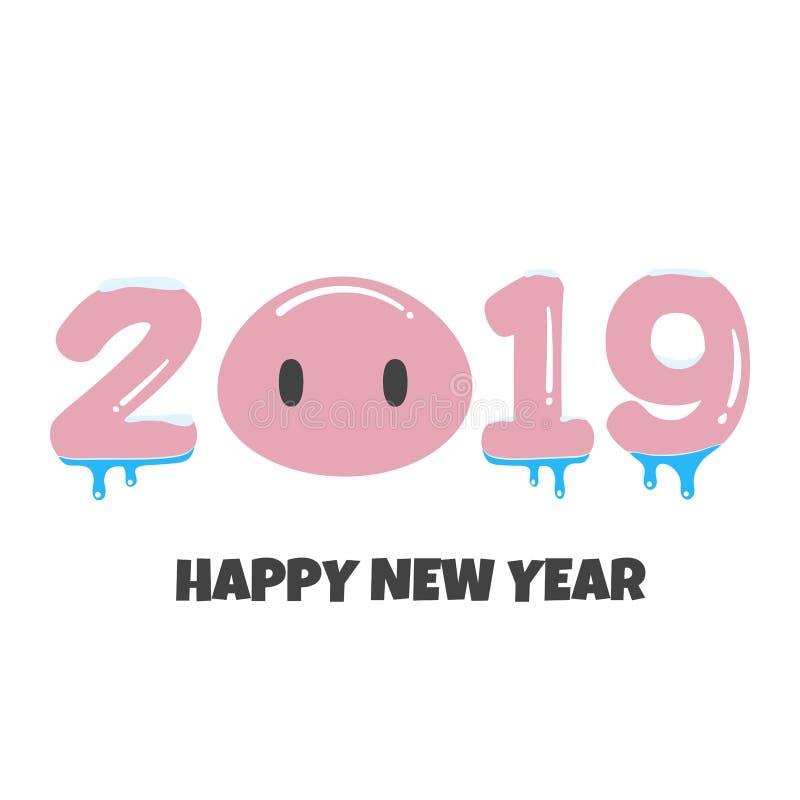 2019 illustration för vektor för design för stil för vykort för lyckligt nytt år roliga hälsa plana med tecknad filmsvin vänder m royaltyfri illustrationer
