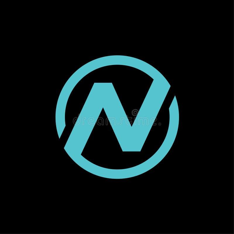 Illustration för vektor för design för symbol för logo för initial för n-cirkelbokstav stock illustrationer