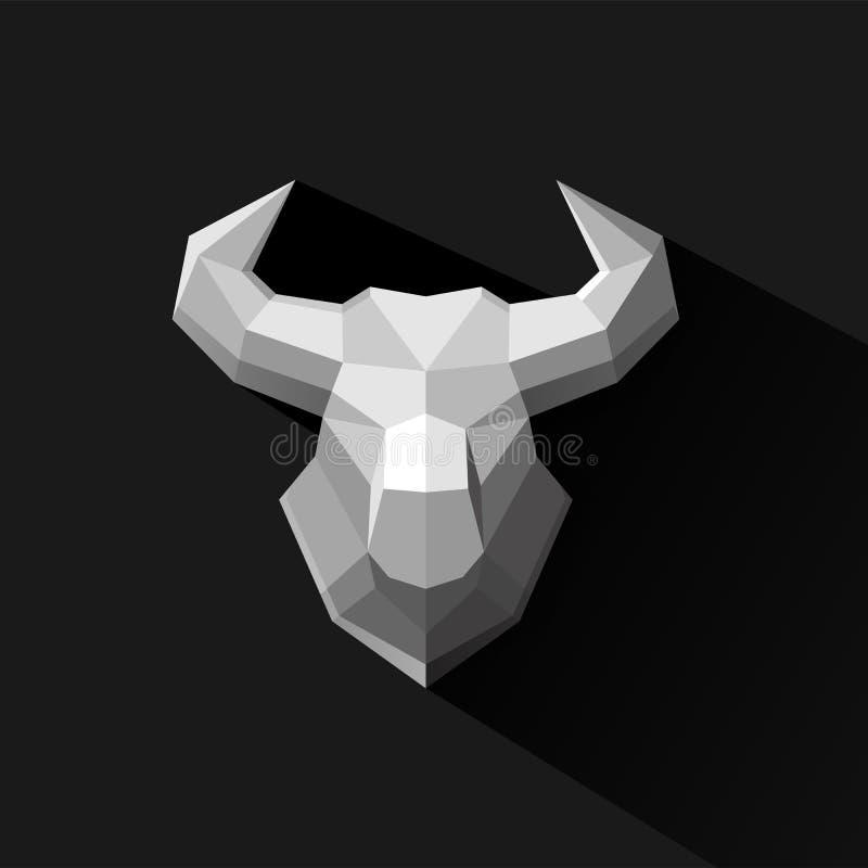 Illustration för vektor för design för tjurpolygonlogo vektor illustrationer