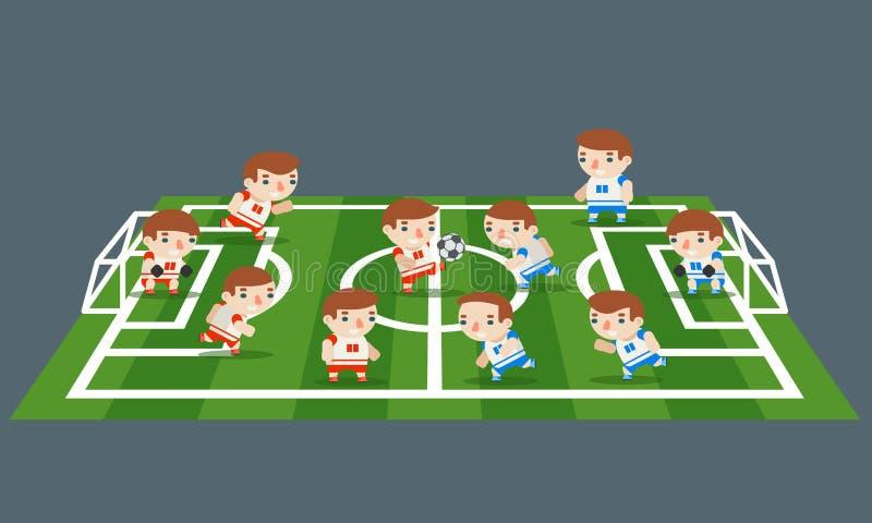 Illustration för vektor för design för ungar för tecknad film för spelare för lag för lek för fotboll för gräs för fält för fotbo vektor illustrationer